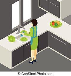 piatti, illustrazione, lavaggio