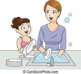 piatti, lavare, ragazza, capretto, mamma