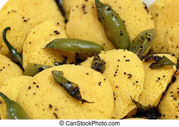 piatto cibo, indiano, delicatezza, dhokla