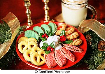 piatto da portata, di, biscotti natale