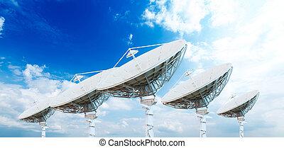 piatto, pietanza, antenne, satellite