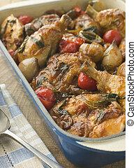 piatto, pietanza, chasseur, pollo