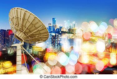 piatto, pietanza, città, vista satellite, notte