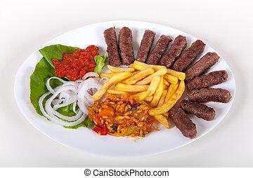 piatto, pietanza, cotto ferri, tritato, cevapcici, carne