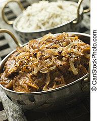 piatto, pietanza, di, dopiaza, vitello, con, fragrante, riso...