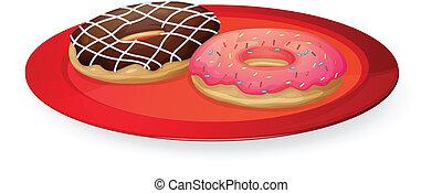 piatto, pietanza, donuts, rosso