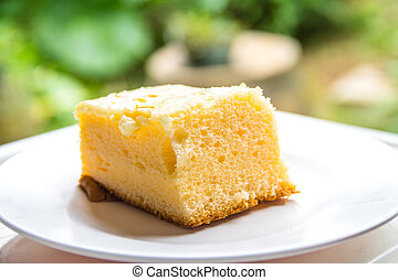 piatto, pietanza, eaten., torte, bianco