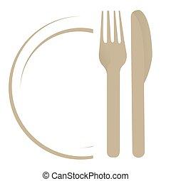 piatto, pietanza, forchetta, coltello