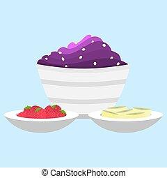 piatto, pietanza, lato, acai, crema