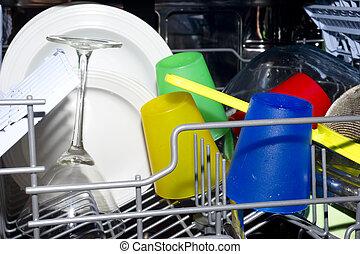 piatto, pietanza, lavare, interno