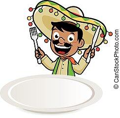 piatto, pietanza, mariachi, messicano, vuoto, uomo
