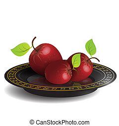piatto, pietanza, nero, mela