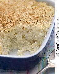 piatto, pietanza, noce moscata, creamed, budino riso