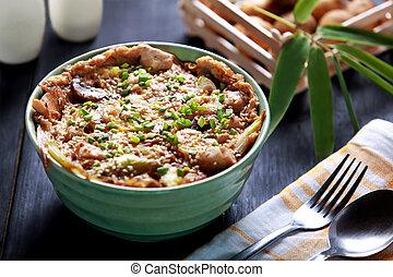 piatto, pietanza, riso, ciotola, giapponese, oyakodon