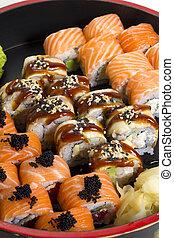 piatto, pietanza, rotolo sushi, fatto