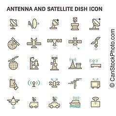 piatto, pietanza, satellite, icona