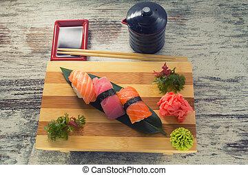 piatto, pietanza, sushi, fatto