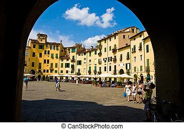 Piazza Anfiteatro square in Lucca Toscane