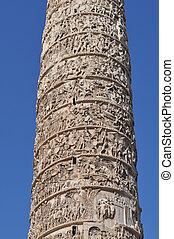 Piazza Colonna in Rome - Marble Column of Marcus Aurelius in...