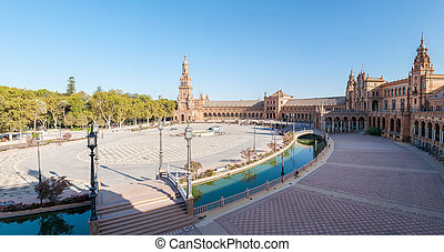piazza, de, sevilla, panoramisch, espana, ansicht