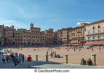 Piazza del Campo in Siena, historic medieval square in the Tuscan territory and Italian tourist destination