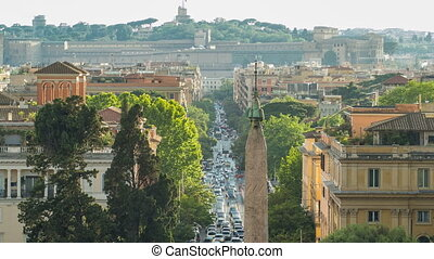 Piazza del Popolo and via Flaminia timelapse seen from...