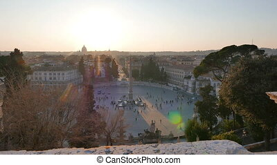 Piazza del Popolo at sunset. Rome, Italy