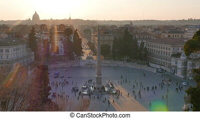 Piazza del Popolo at sunset. Zoom. Rome, Italy
