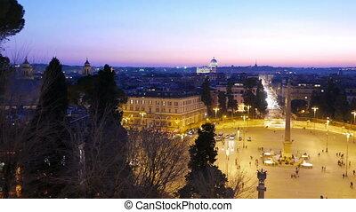 Piazza del Popolo. Evening, Panorama. Rome, Italy