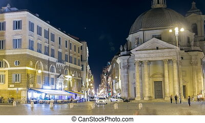 Piazza del Popolo timelapse with twin churches of Santa Maria in Montesanto and Santa Maria dei Miracoli Piazza del Popolo at night. Rome, Italy.