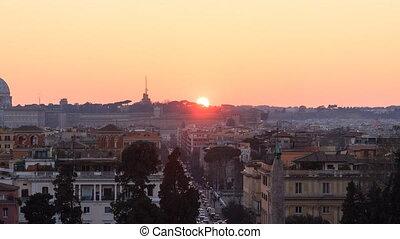 Piazza del Popolo. Zoom. Time Lapse. Rome, Italy