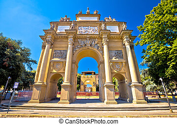 Piazza della Liberta square and Triumphal Arch of the Lorraine in Florence, Tuscany region of Italy