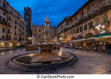 Piazza delle Erbe and Palazzo Maffei, Verona, Italy