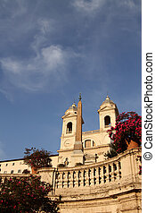 Piazza di Spagna (Spanish Steps) and church Trinita dei...