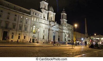 Piazza Navona in Rome, Italy. Night time lapse. - Piazza...