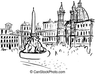 Piazza Navona sketch - Hand drawn ink sketch of Piazza...