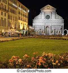 Piazza of  Santa Maria Novella in Florence by night, Italy