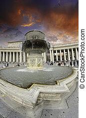 piazza, op, hemel, bewolkt, rome, pietro, san