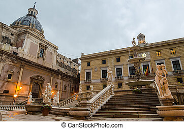 Piazza Pretoria in Palermo, Sicily, Italy. Early morning