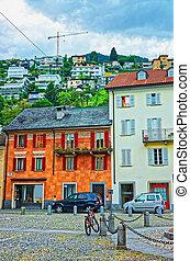 Piazza Saint Antonio in the city center of luxurious resort Locarno of Ticino canton, Switzerland.