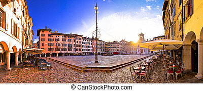 Piazza San Giacomo in Udine sunset panoramic view, town in...