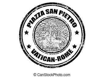 Grunge rubber stamp with San Pietro square, vector illustration