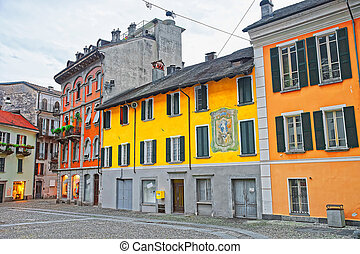 Piazza St Antonio at the city center of luxurious resort Locarno of Ticino canton, Switzerland.