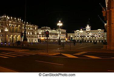 piazza, unit�, triëst, d\'italia, voorkant, straat