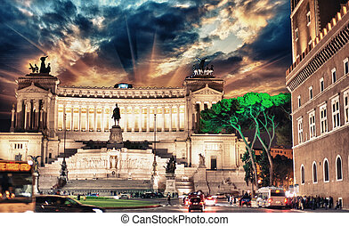 Piazza Venezia and National Monument to Victor Emmanuel II - Sunset in Rome.