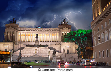 Piazza Venezia at Night in Rome - Italy.