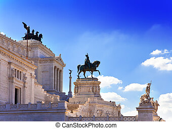 Piazza Venezia in central Rome, Italy. Monument for Victor Emenuel II.