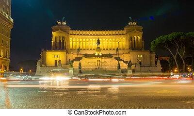 Piazza Venezia in Rome at night, 4k UHD timelapse