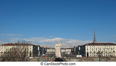 The Piazza Vittorio Emanuele II square in Turin Italy