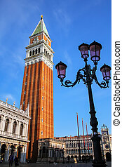 Piazzetta San Marco with St Mark's Campanile in Venice, Italy